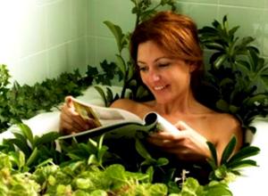 Сидение в ваннах из травяных